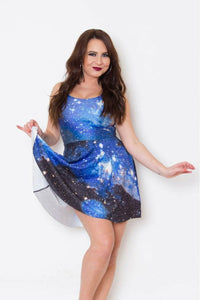 Blue Galaxy Skater Dress - Soft Kitty Clothing