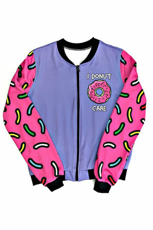 I Donut Care Short Bomber Jacket