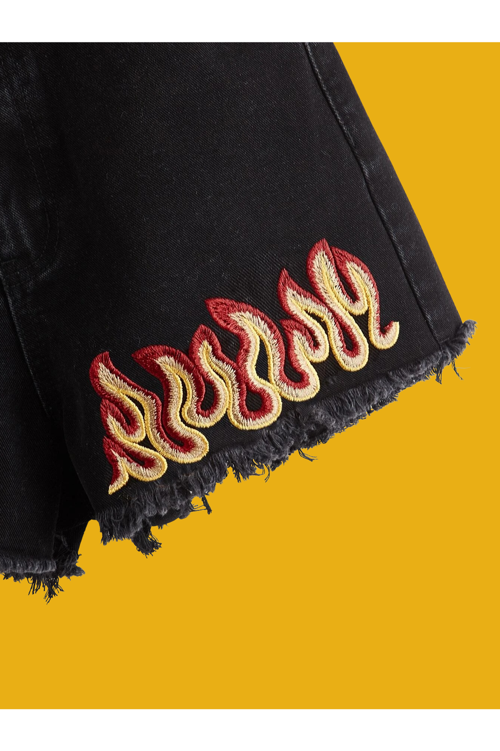 Up In Flames Embroidered Shorts