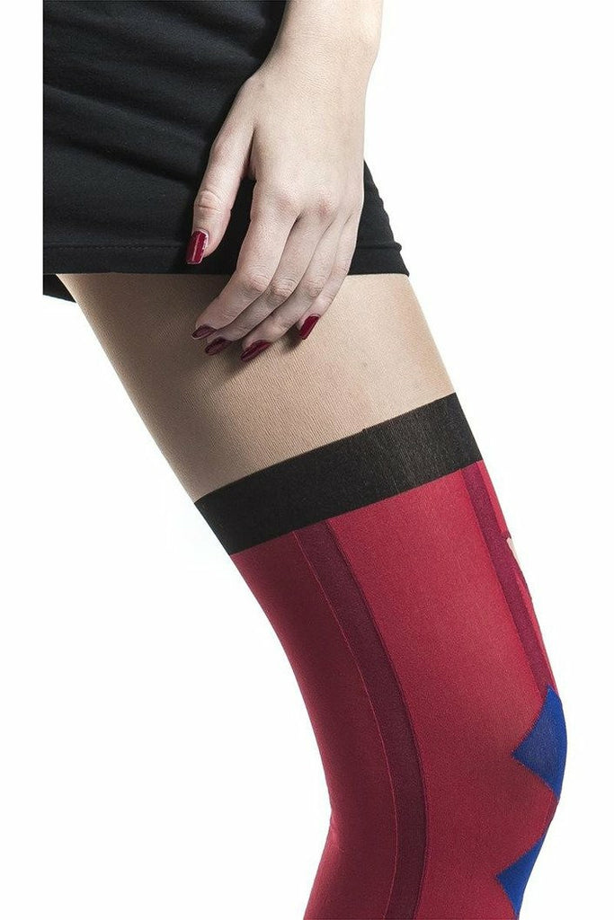 Harley Quinn Diamond Blue & Red Tights