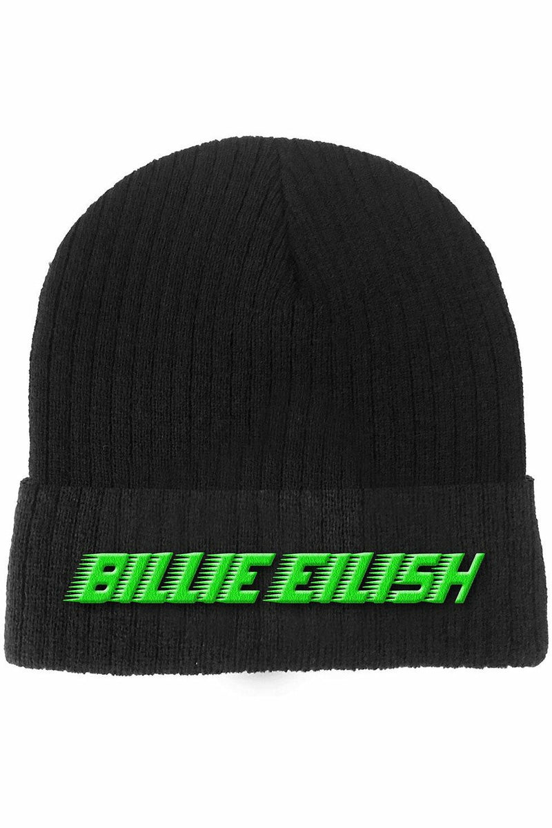 Billie Eilish Black and Lime Beanie