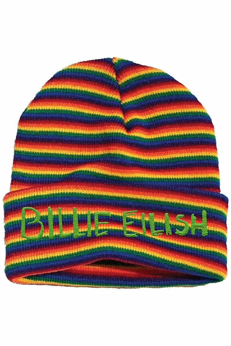 Billie Eilish Rainbow Stripe Beanie