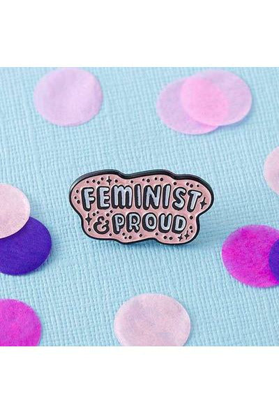 Feminist & Proud Enamel Pin - Soft Kitty Clothing