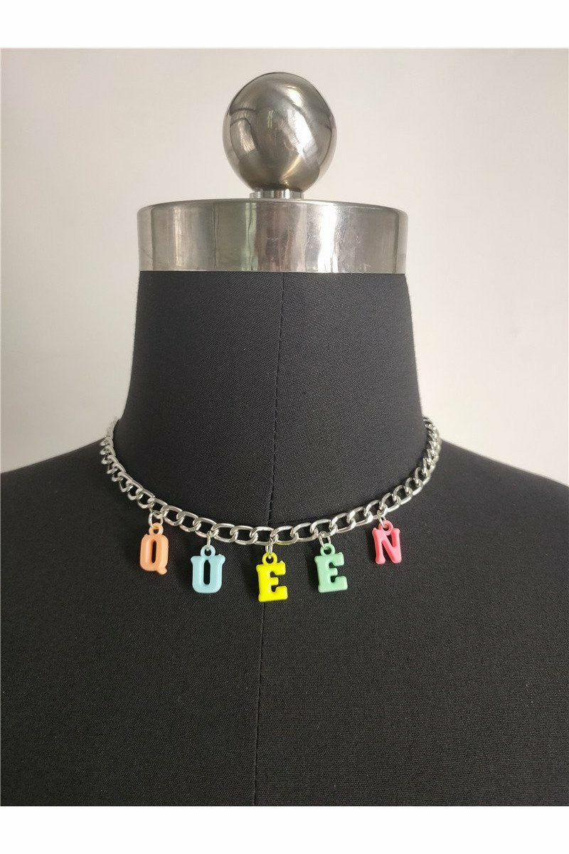 Queen Rainbow Letter Necklace