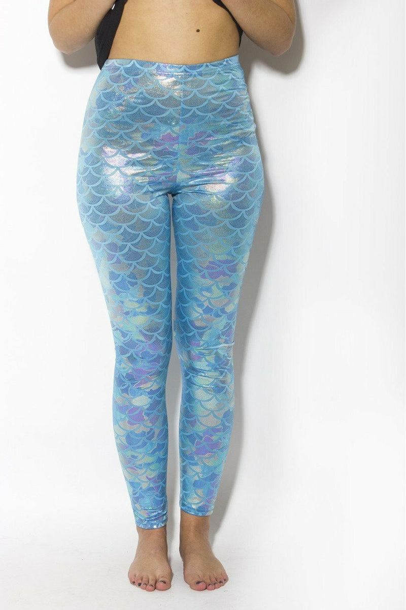 Blue Pastel Mermaid Leggings - Soft Kitty Clothing