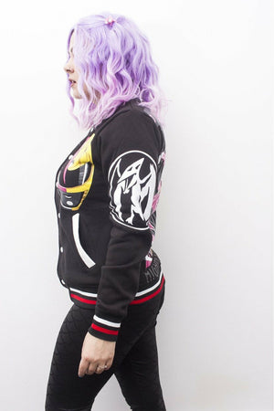 Pink and Yellow Power Rangers Varsity Jacket