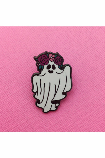 Floral Crown Ghost Enamel Pin
