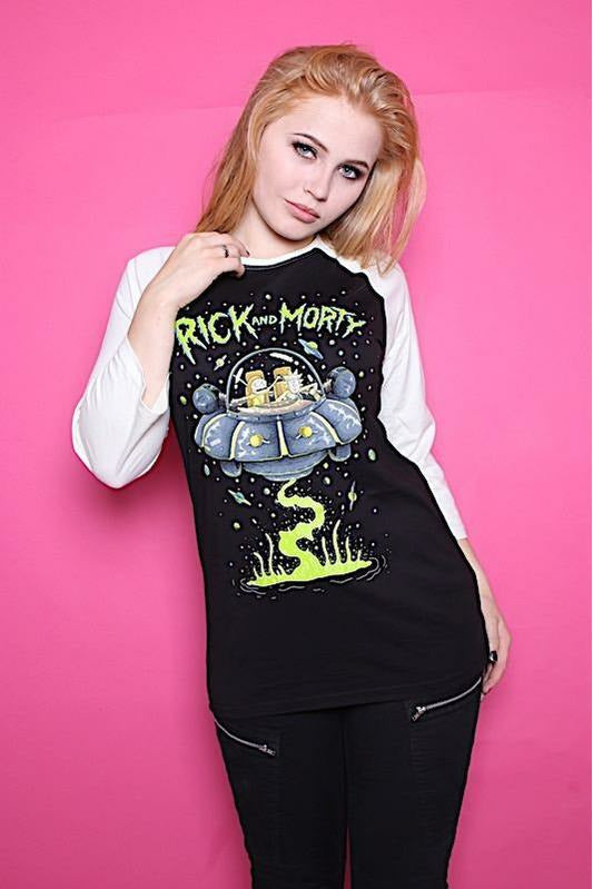 Rick and Morty UFO Baseball Top - Soft Kitty Clothing