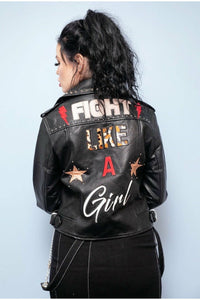 Fight Like A Girl Faux Leather Jacket