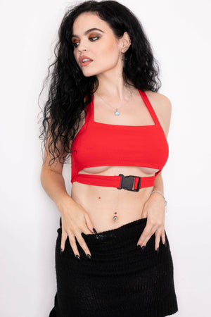 Red Cut Out Buckle Crop Top