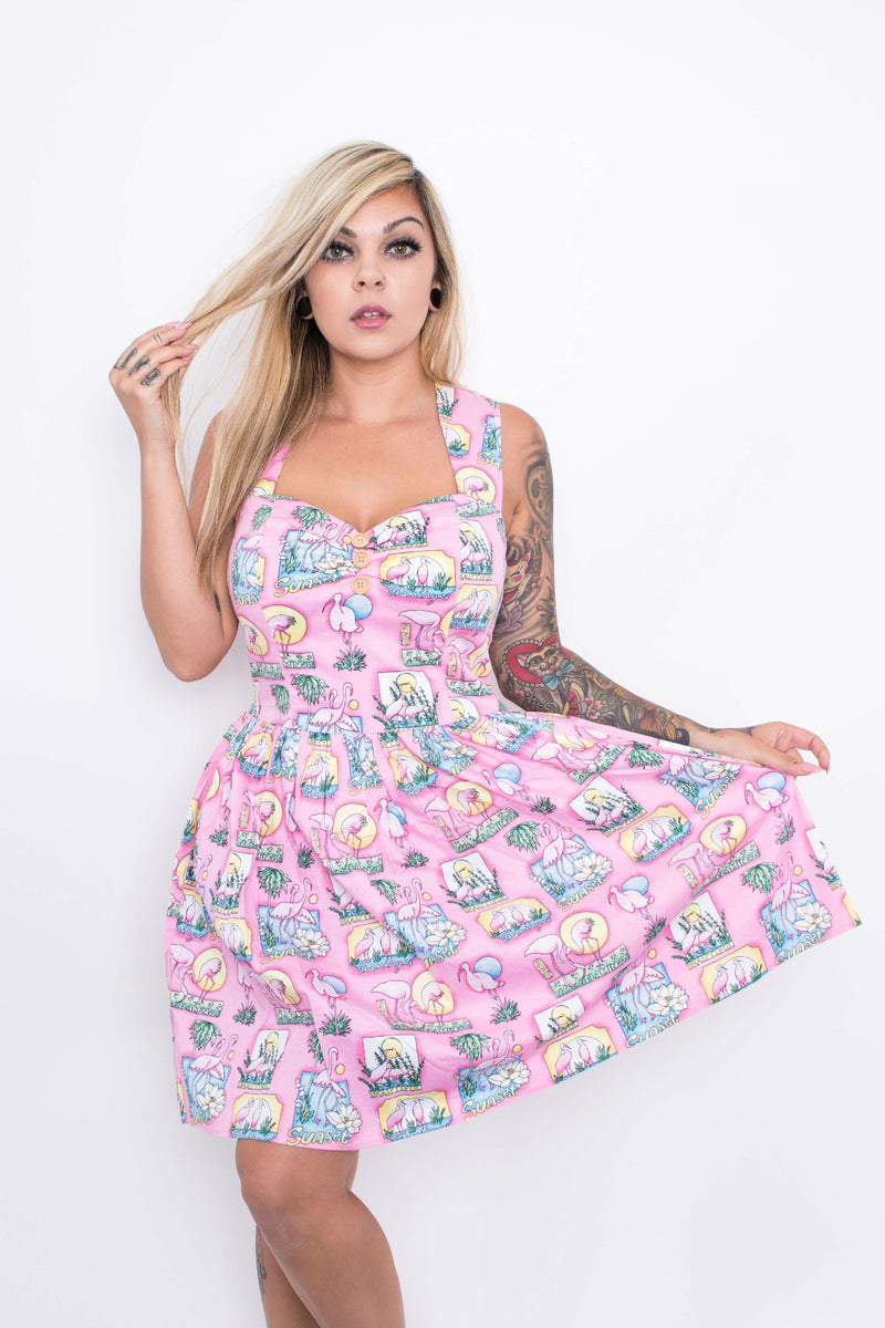 Hell Bunny Maxine Flamingo Mini Dress