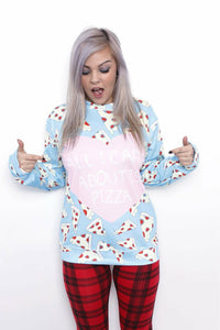 All I Care About Is Pizza Sweater - Soft Kitty Clothing