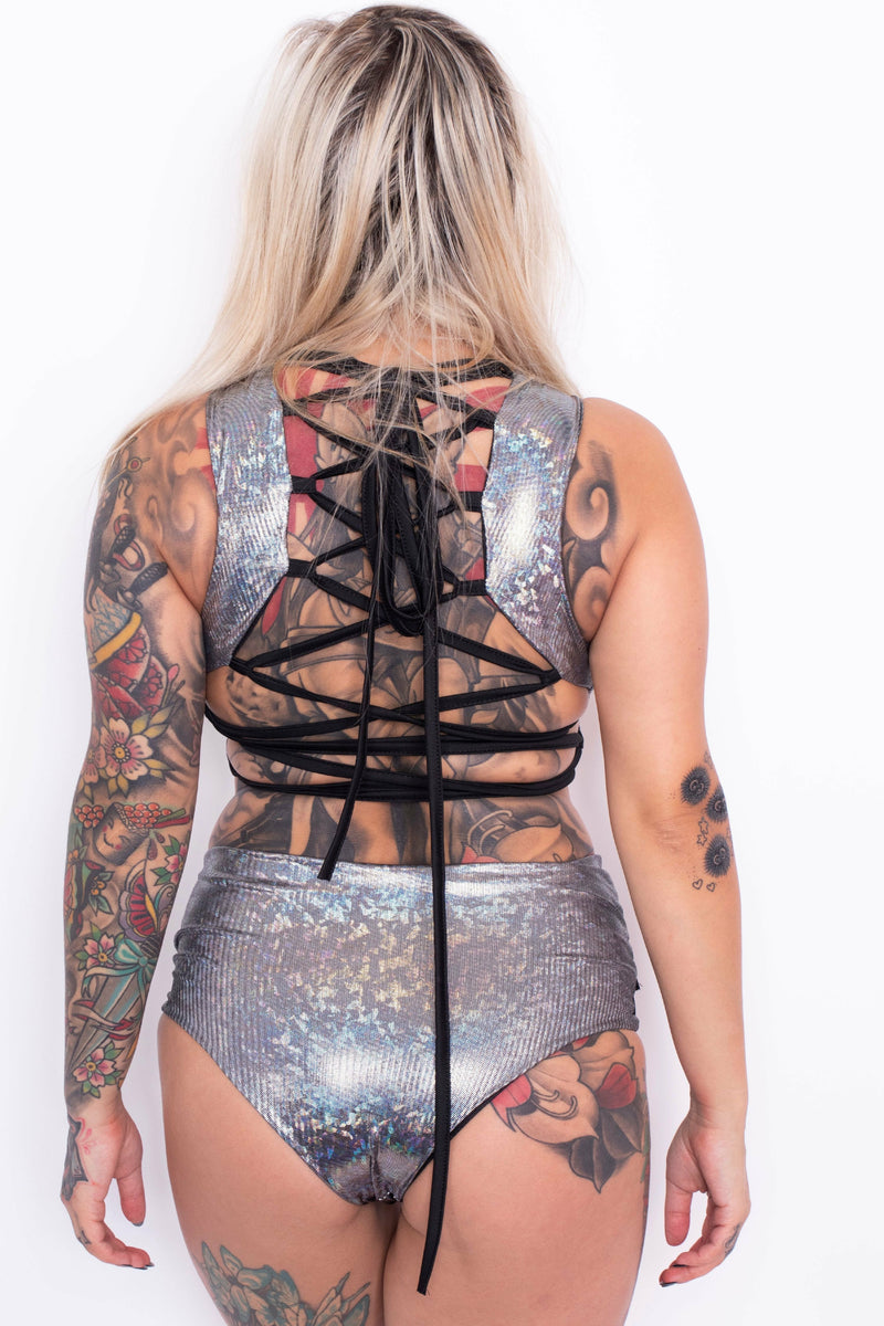 Space Oddity Holographic Crop + Hot Pants Set