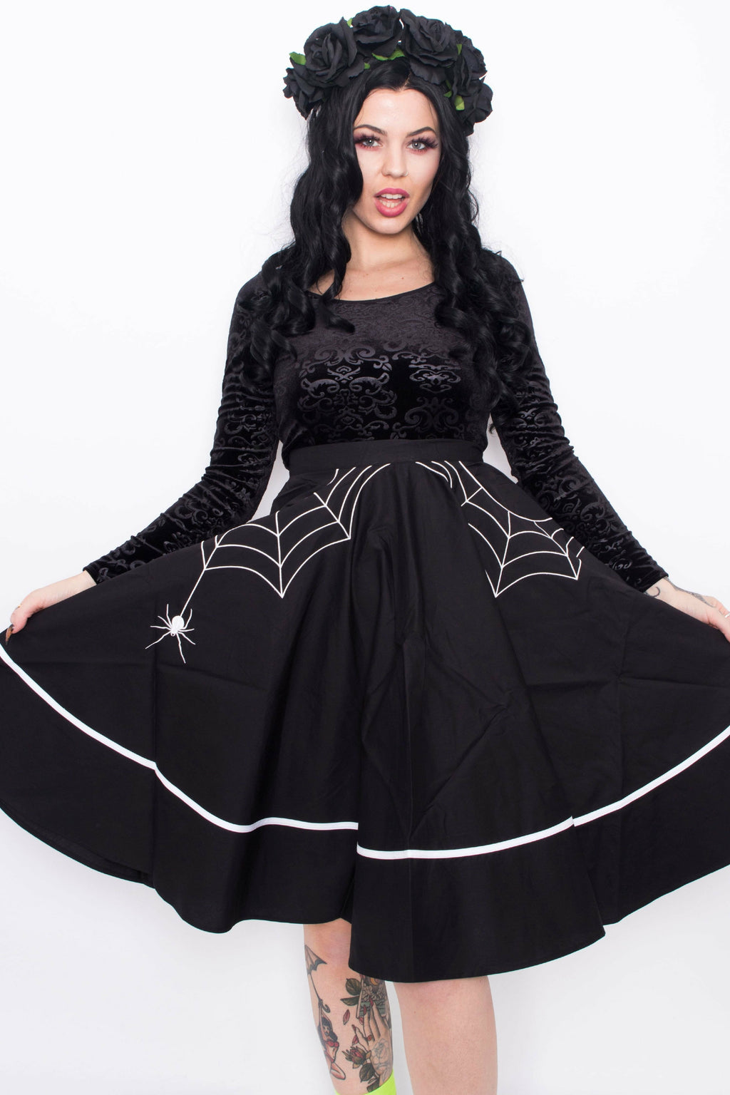 Miss Muffet Black Midi Skirt