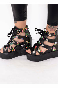 Flower Power Black Platform Sandals