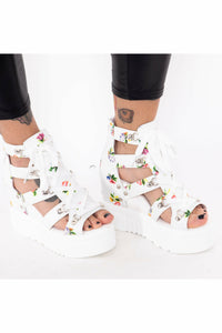 Flower Power White Platform Sandals