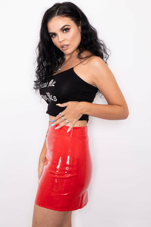 Red PVC Bodycon Skirt