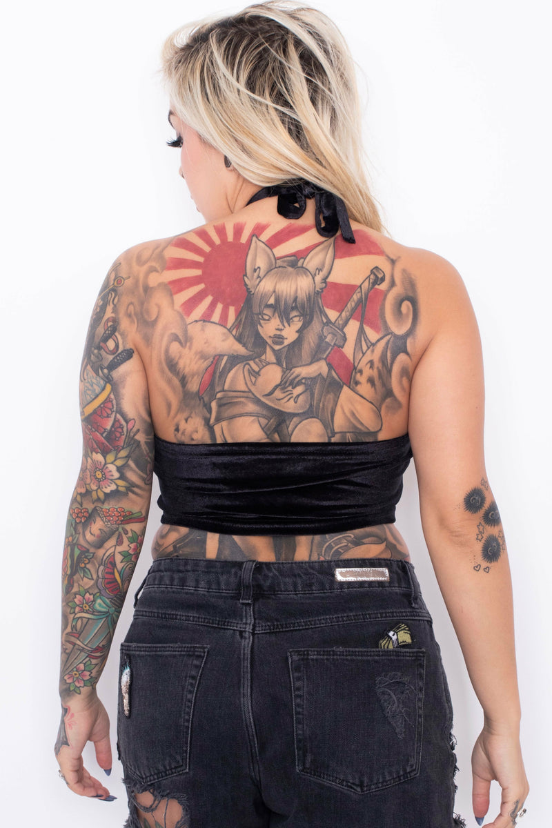 Butterfly Halter-Neck Crop Top