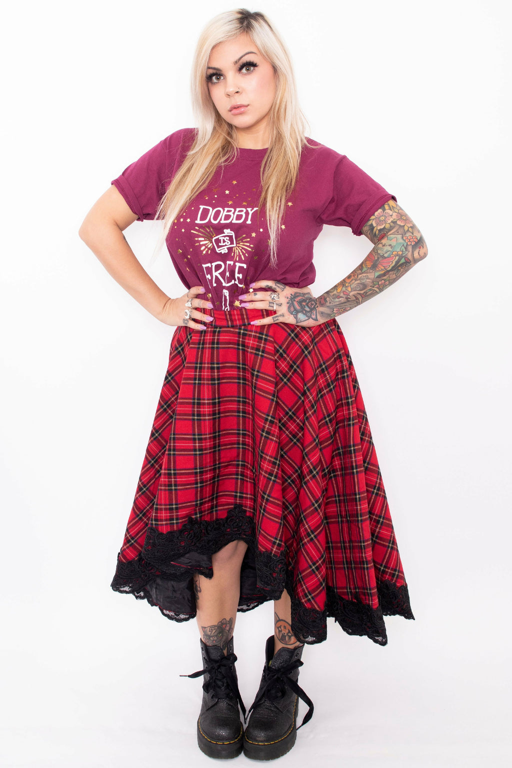 Lucine Red Tartan High-Low Skirt