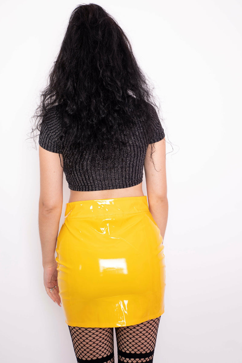 Yellow PVC Zip Skirt