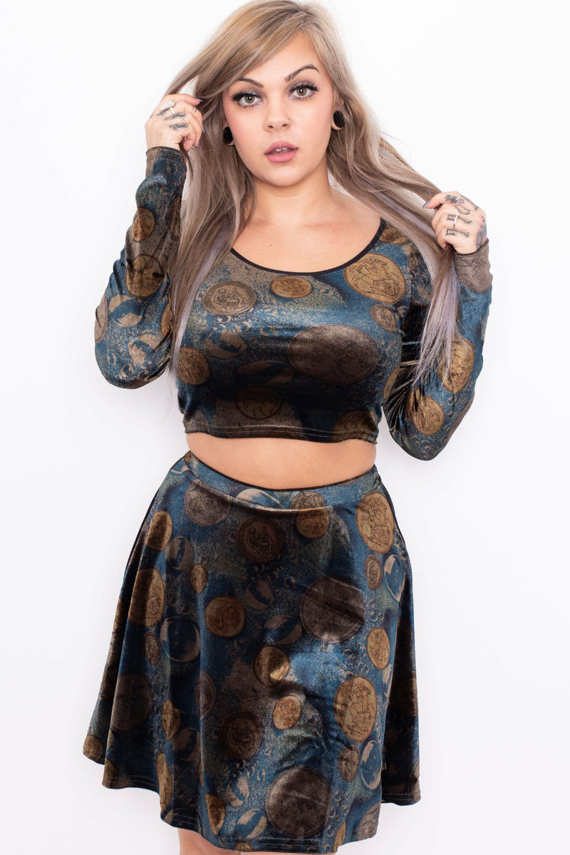 Fortuna Velvet Crop Top + Skater Skirt SET