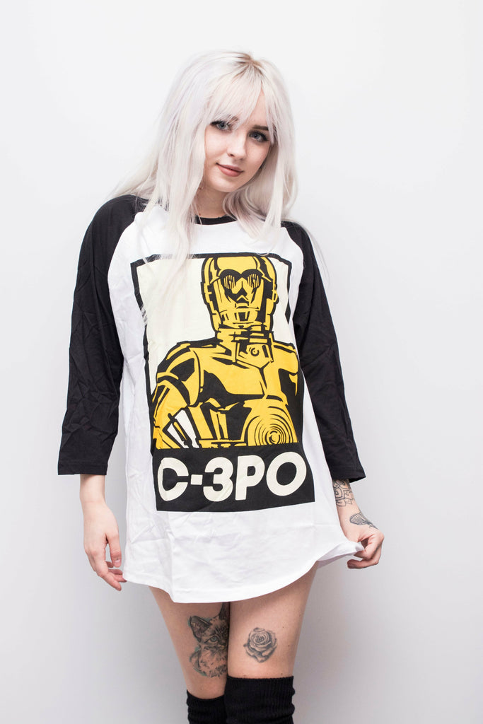 C-3PO Baseball Top - Soft Kitty Clothing