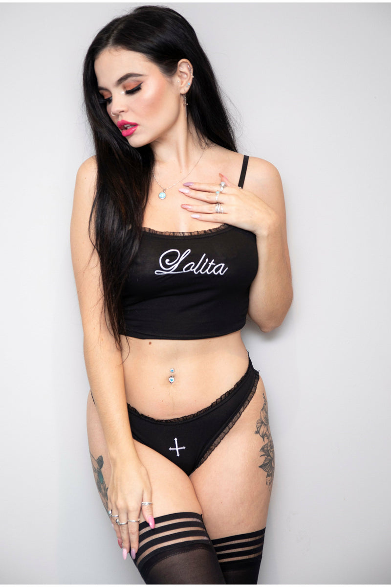 Lolita Black Cross Crop Top and Panties Set