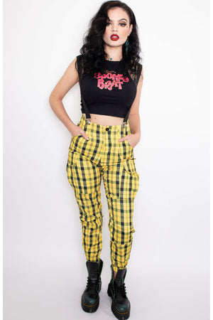Yellow Plaid Suspender Trousers