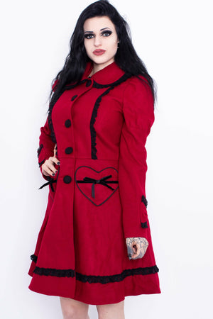 Courtney Red + Black Bow Coat