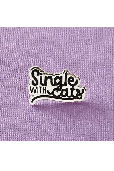 Single With Cats Enamel Pin