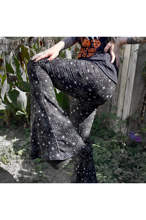 Spider Web Bell Bottom Pants