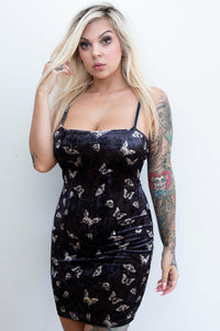 Butterfly Black Velour Dress