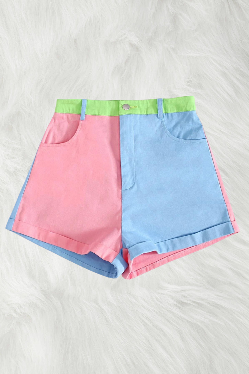 Pink + Lime Colour Block Shorts