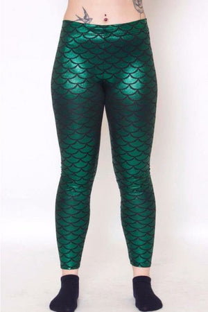 Green Mermaid Leggings - Soft Kitty Clothing