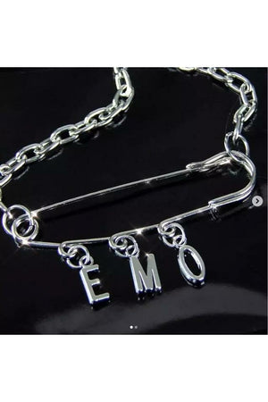 Emo Safety Pin Necklace