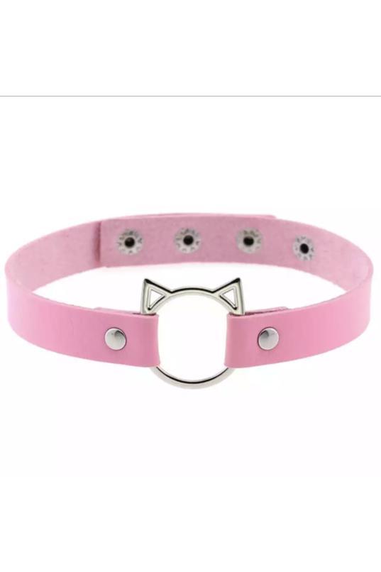 Kitty PU Pastel Pink Choker