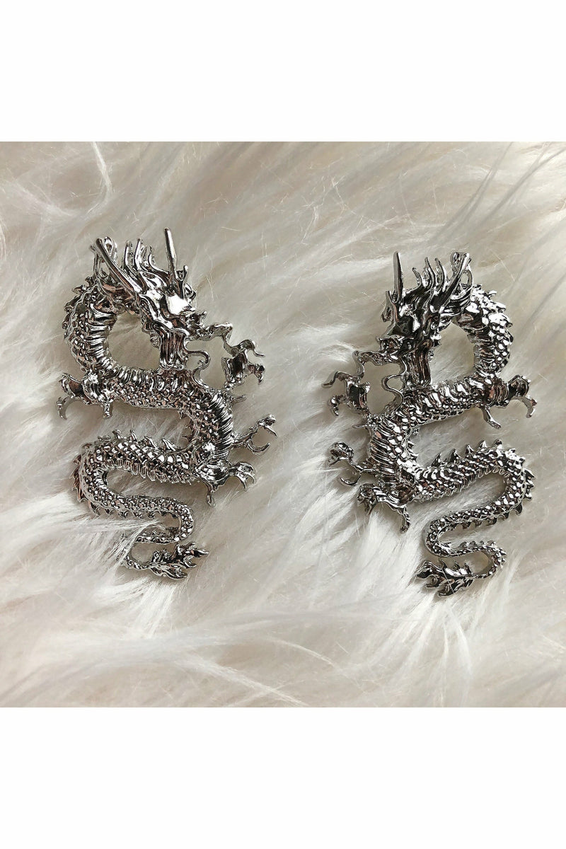 Dragon Silver Plated Earrings