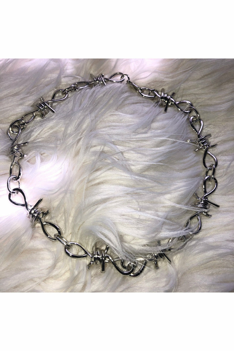 Barbed Wire Silver Choker