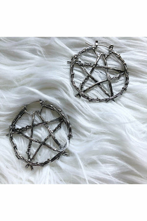 Pentagram Barbed Wire Earrings