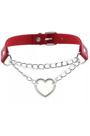 Valentine Red Heart Choker