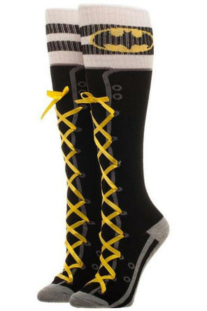 Batman Lace Up Knee High Socks - Soft Kitty Clothing