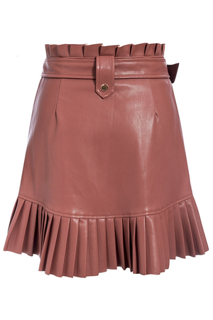 Cinnamon Faux Leather Pleated Skirt