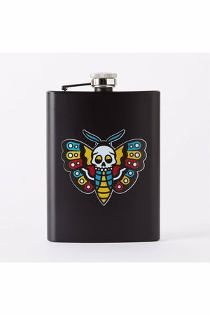 Death Head Moth Tattoo Hip Flask