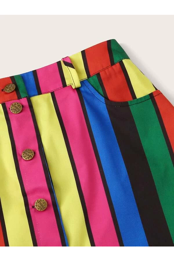 Rainbow Button Up Skirt