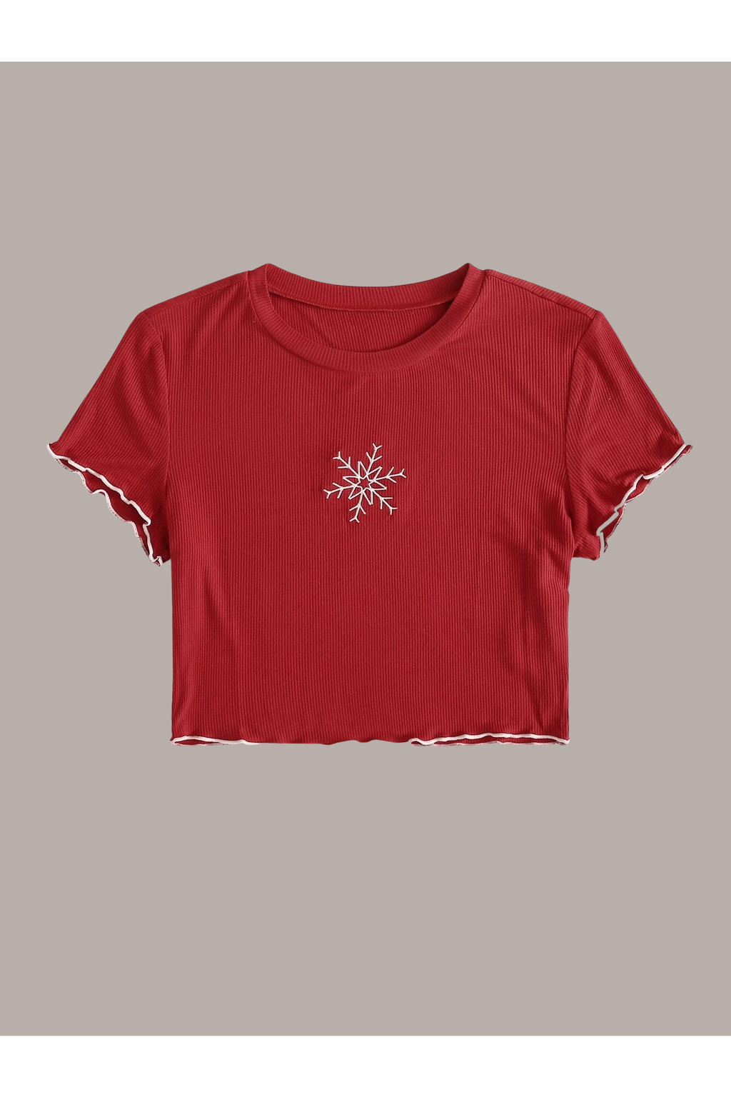 Snowflake Embroidered Red Top