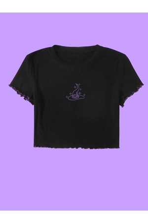 Witch Embroidered Crop Top