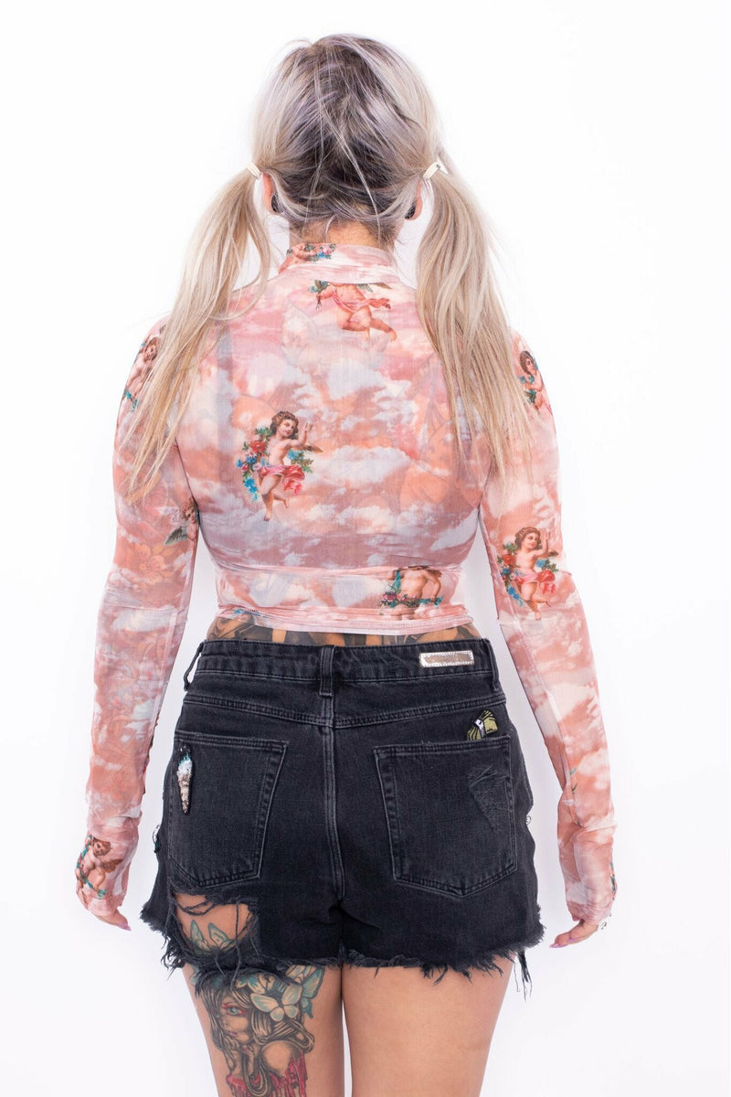 Stupid Cupid Peachy Sheer Crop Top