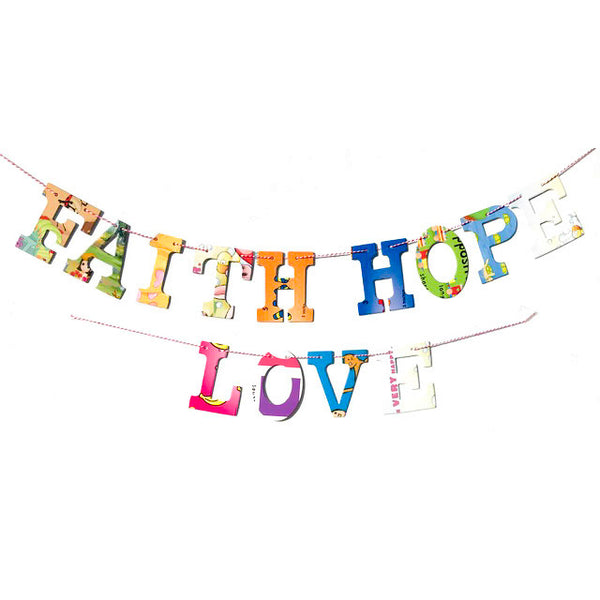Board Book Phrase Garland Kit FAITH HOPE LOVE