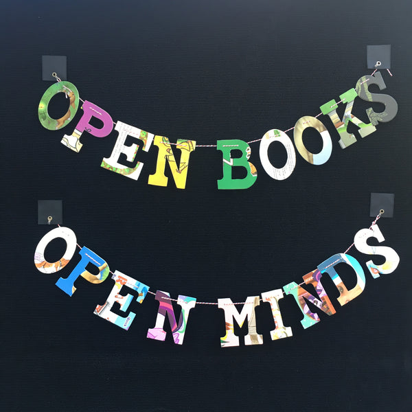 Board Book Garland DIY Kit OPEN BOOKS OPEN MINDS
