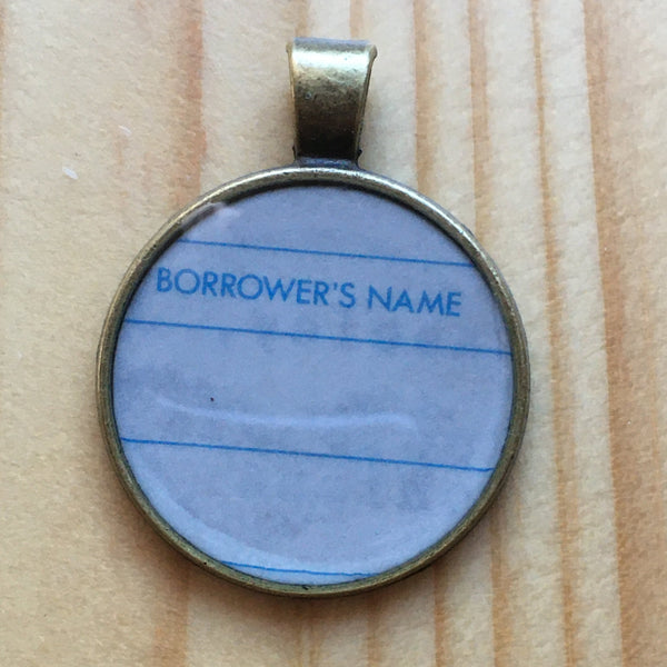 Book Lover Necklace -- Borrower's Name (blue)